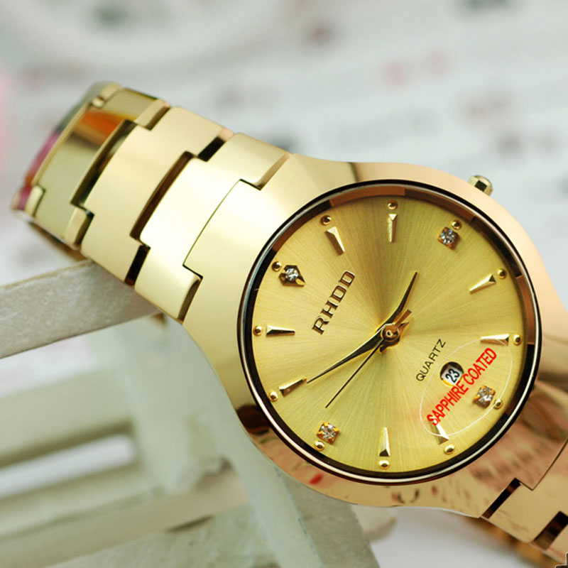 Fashion Waterproof Quartz Rose/Yellow/Black Dial Alloy Bracelet Men Watch
