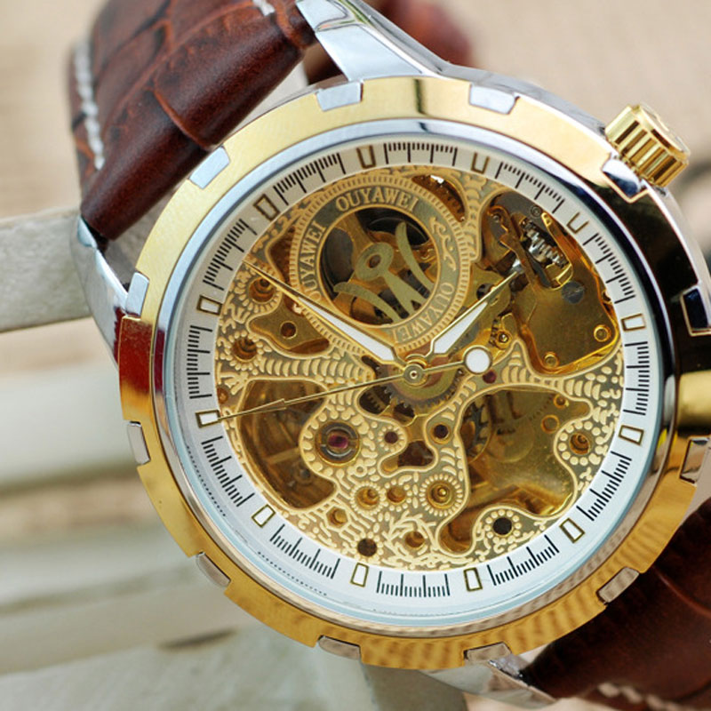 New Style Waterproof Quartz Skeleton Dial Leather Strap Men Watch