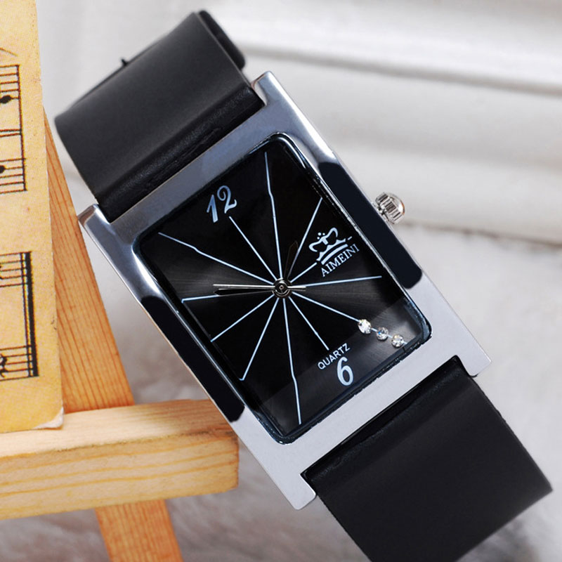 Rectangle Watch Alloy Case Black Dial Leather Strap Quartz Couple Watch
