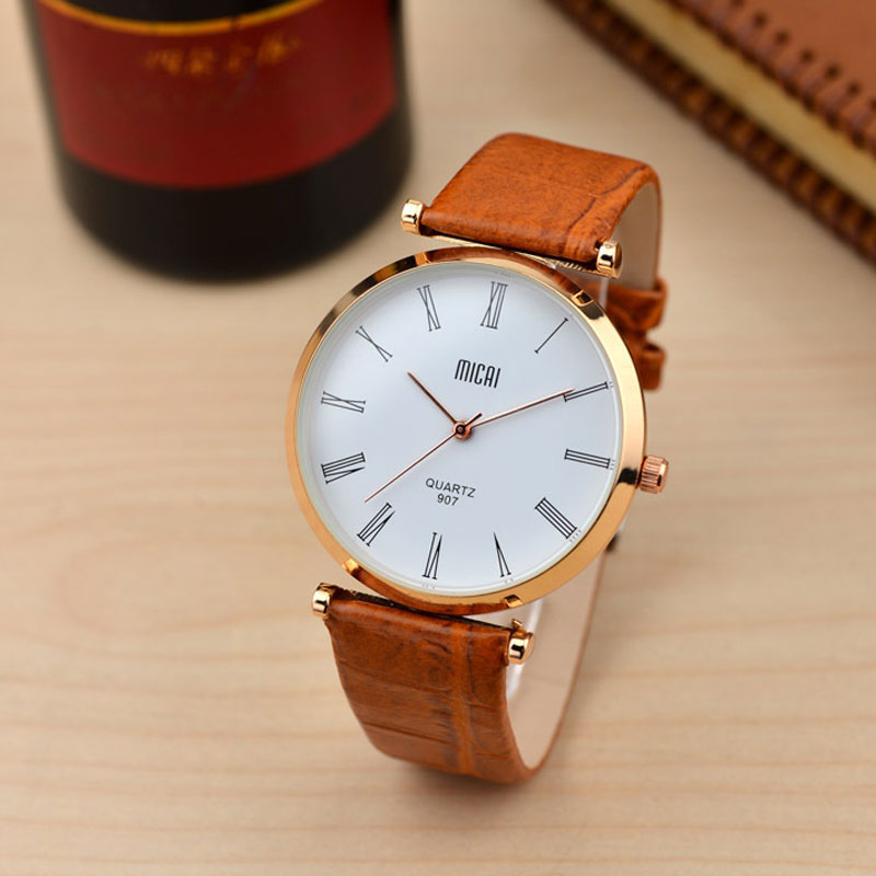 Waterproof Roman Numeral Markers White Dial Alloy Case Leather Strap Men Watch