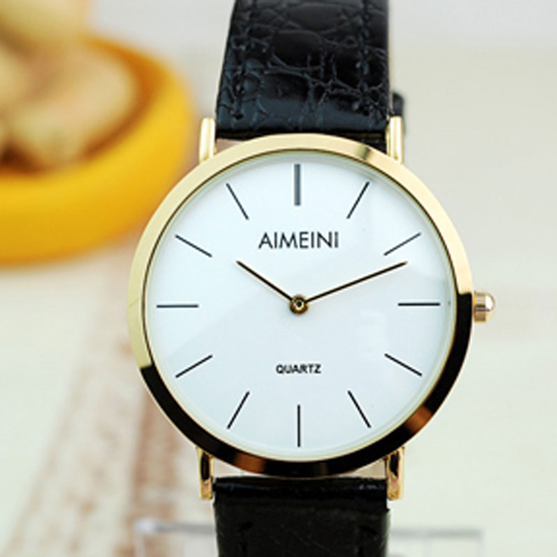Fashion Stick Markers White Dial Leather Strap Alloy Case Women Watch