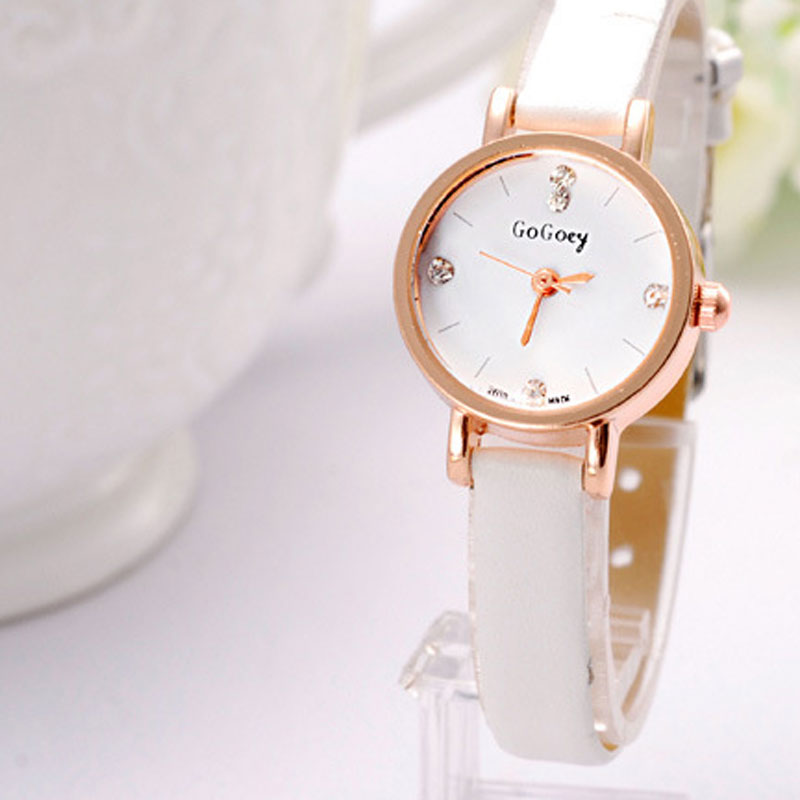 Fashion Diamonds Markers White/Black Dial Leather Strap Alloy Case Women Watch