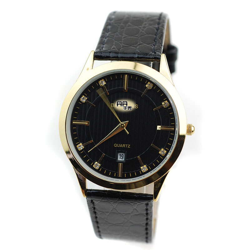 Fashion Yellow/Black/White Dial Alloy Case Leather Strap Men Watch