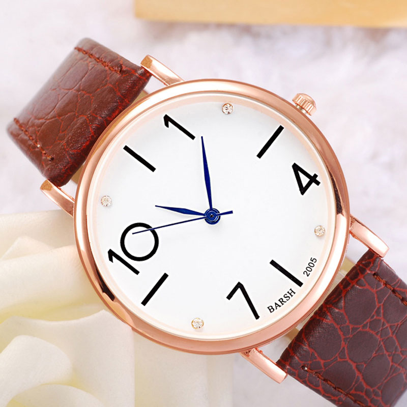 Fashion White Dial Leather Strap Quartz Alloy Case Women Watch