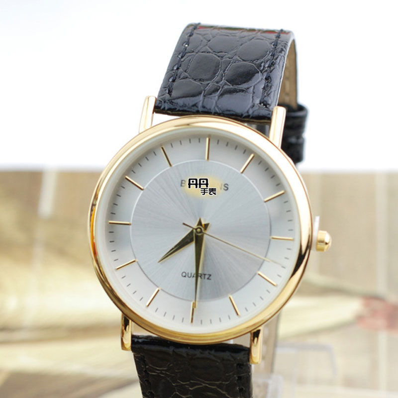 Stick Markers White Dial Leather Strap Quartz Alloy Case Men Watch