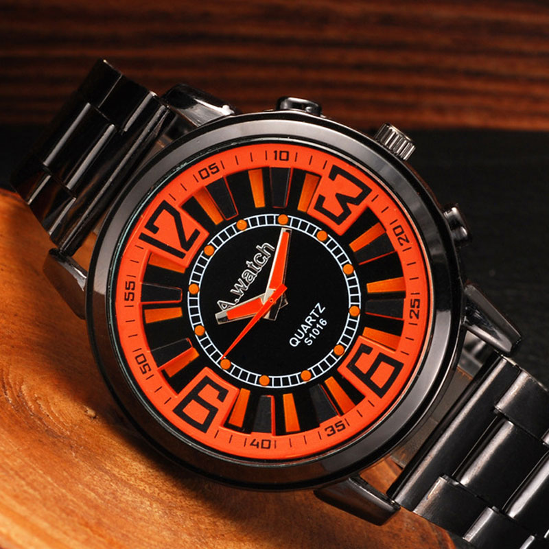 Blue/Orange/White Dial Quartz Alloy Bracelet Watch