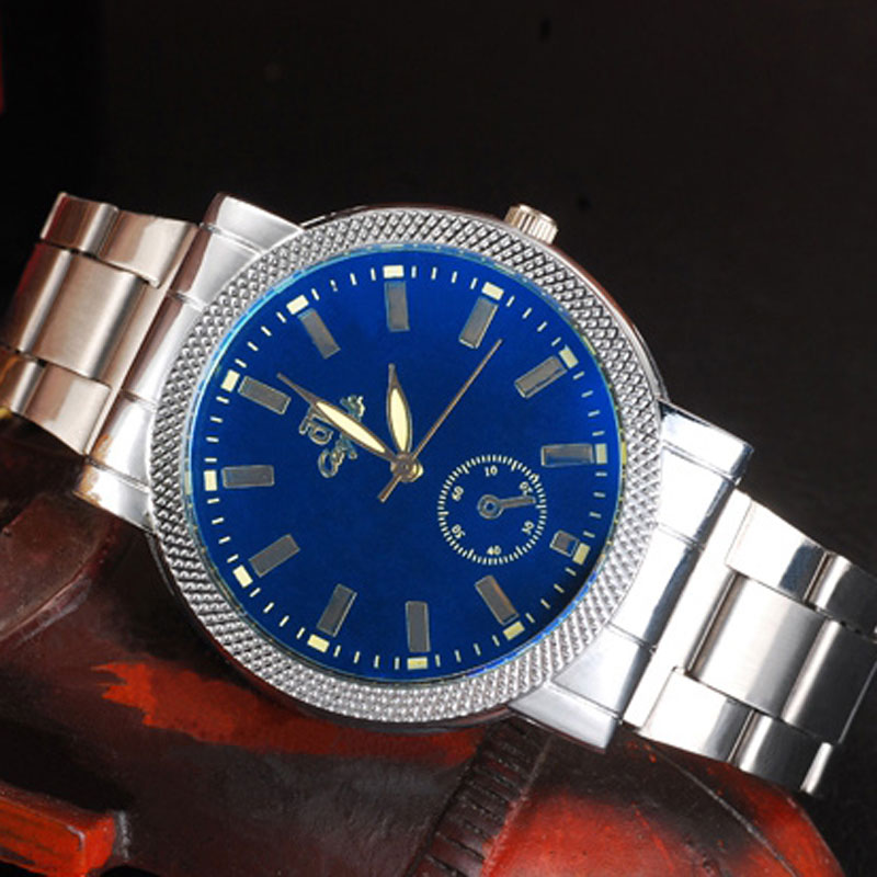 Stick Markers Blue/White Dial Quartz Alloy Bracelet Watch