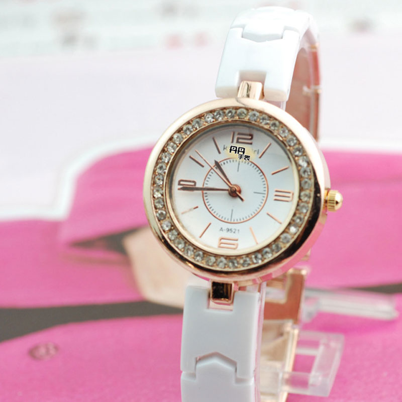 Arabic Numeral/Stick Markers White Dial Quartz Ceramic Strap Women Watch