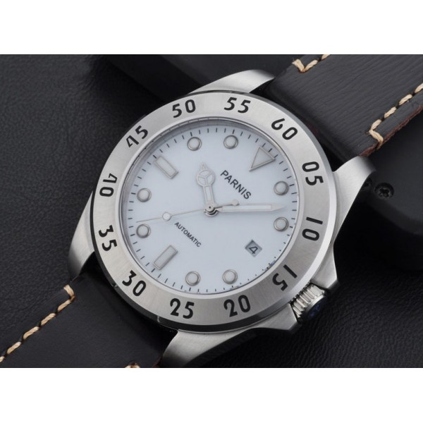Parnis 43mm Automatic Watch Steel Case For Men Water Resistant