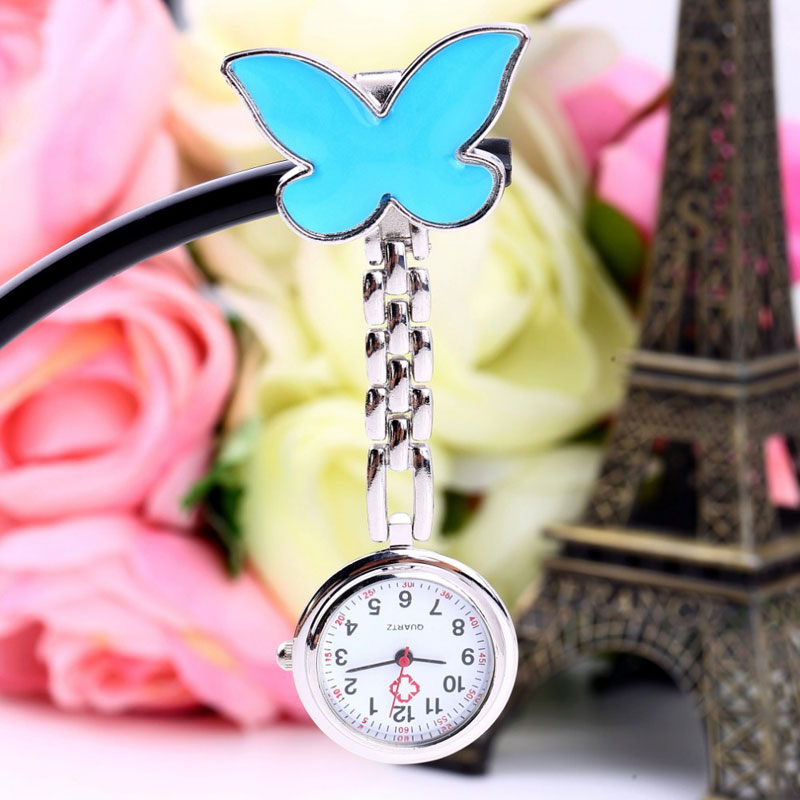 Medical Butterfly Nurse Watch Clip-on Quartz Hanging Pocket Watch