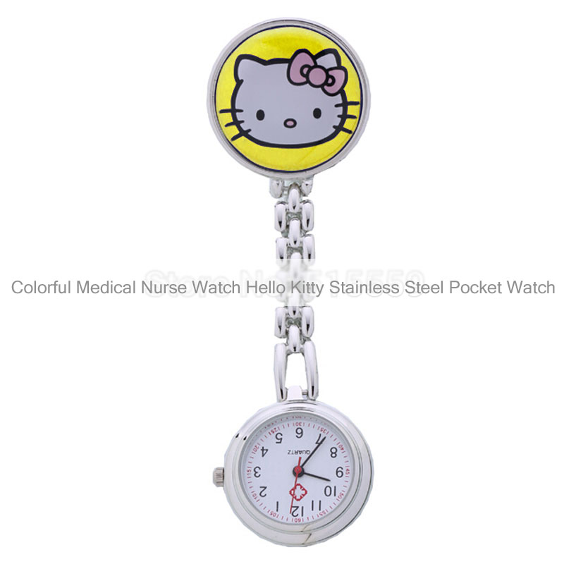 Colorful Medical Nurse Watch Hello Kitty Stainless Steel Pocket Watch