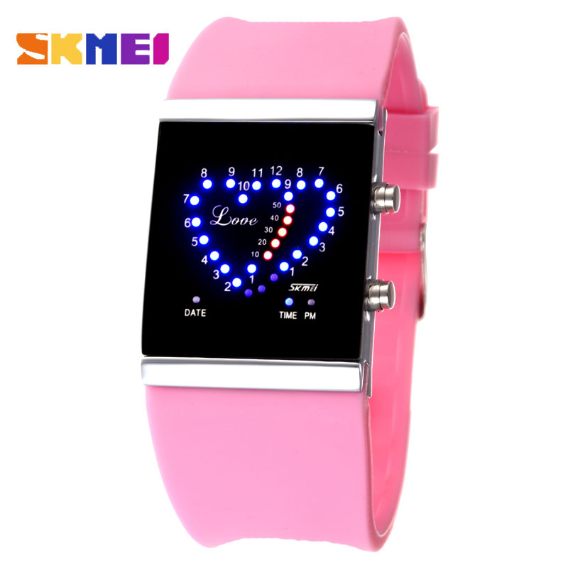 SKMEI Men Watches Heart-shaped LED Watch Waterproof Luminous Date