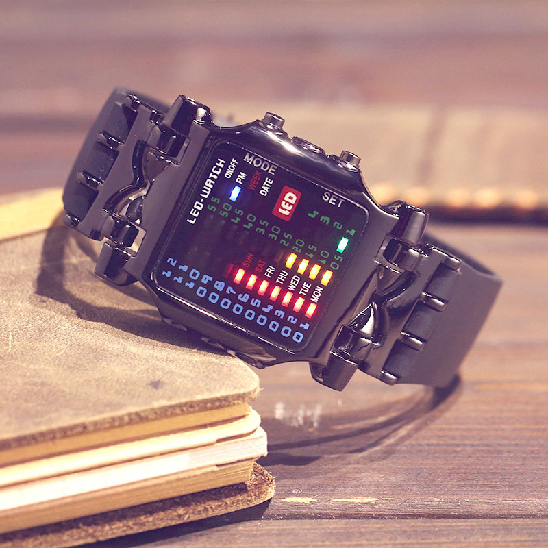 31 Colorful LED Sport Watch Square Binary Digital Crab Watch