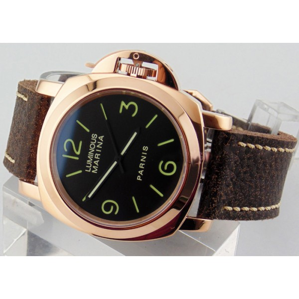 Parnis 44MM Militare Watch Rose Gold Case Automatic Watch Luminous
