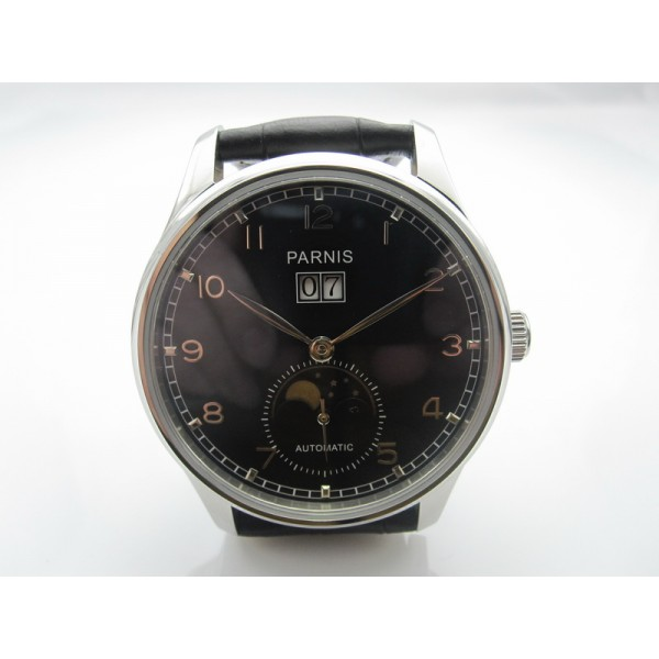 Parnis Pilot Men Watch Steel Case Automatic Watch Date Moon Phase