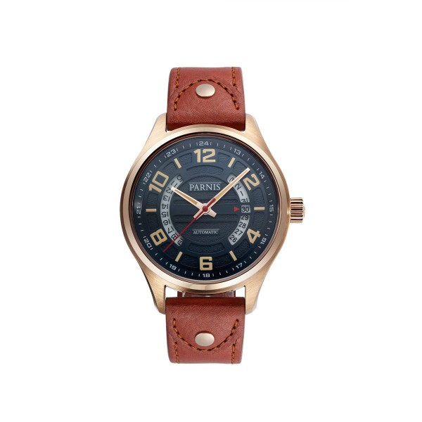 Parnis Men Watch Black Dial Rose Gold Case Automatic Watch Date