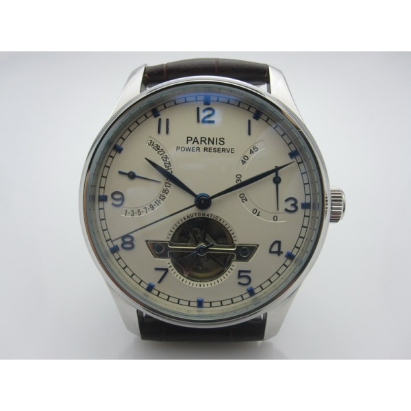 Parnis 43MM Men Watch Power Reserve White Dial Automatic Watch Calendar