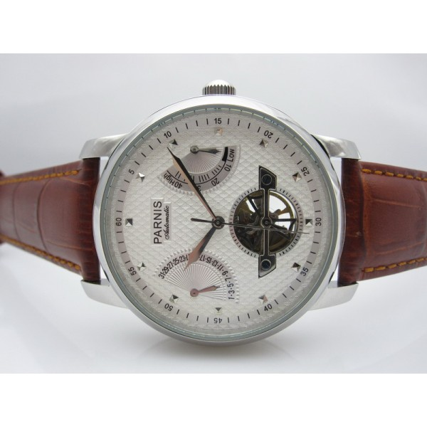 Parnis Men Watch Power Reserve White Rugged Dial Automatic Watch Calendar