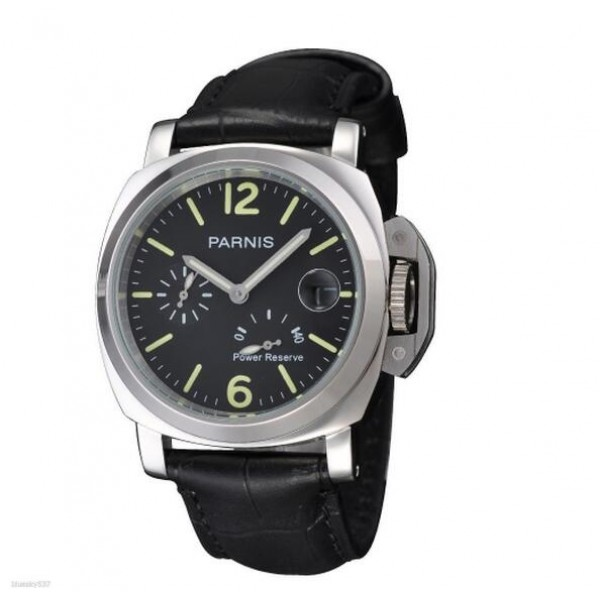 Parnis Luminor Men Watch Power Reserve Automatic Watch Date 30M Waterproof