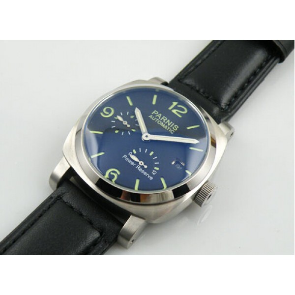 Parnis 44MM Men Watch Black Dial Automatic Watch Power Reserve