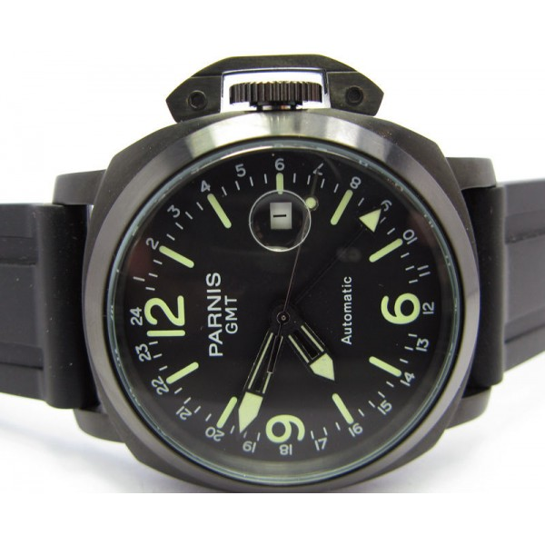 Parnis 44MM GMT Militare Watch PVD Case Automatic Watch Luminous