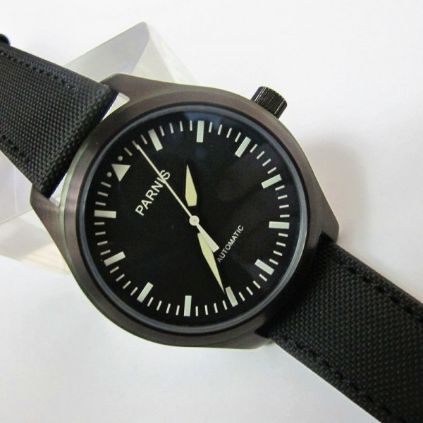 Parnis 44MM Men Watch Black Dial PVD Case Automatic Watch Luminous