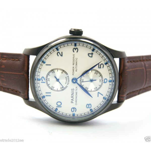 Parnis 44MM Men Watch White Dial Automatic Watch Power Reserve