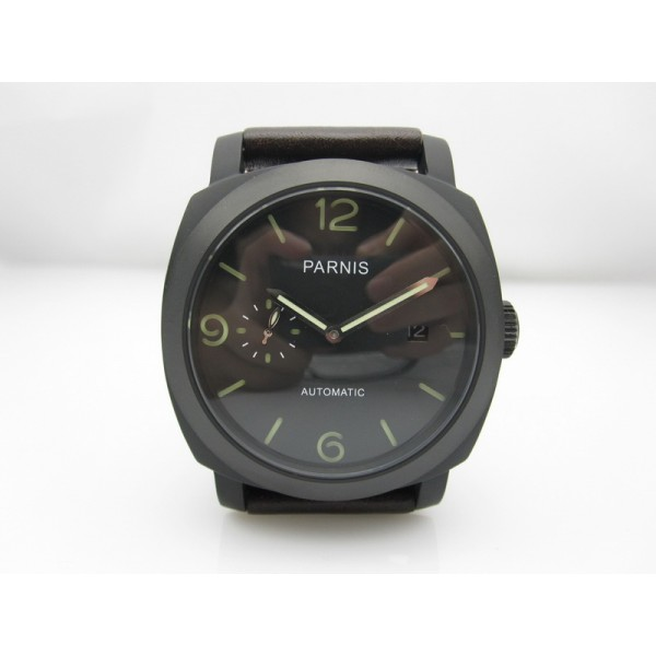 Parnis 44MM Men Watch Black Dial PVD Case Automatic Watch Date