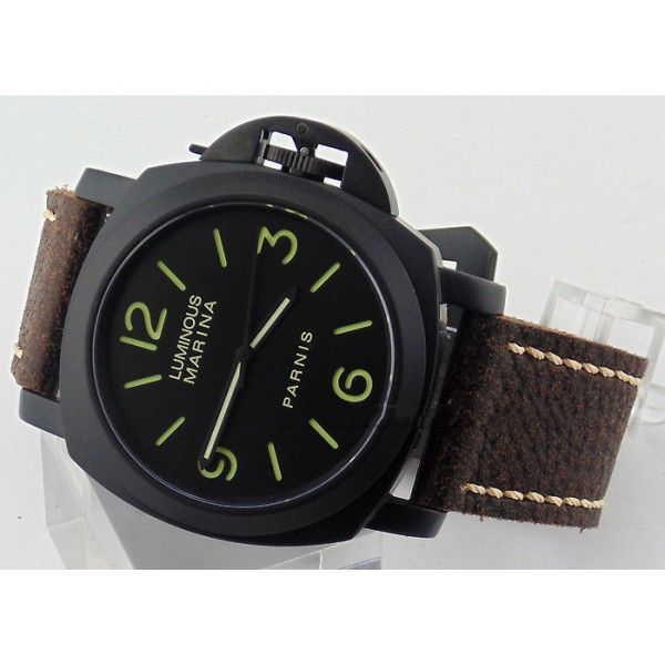 Parnis 44MM Militare Watch Black Dial PVD Case Automatic Watch Luminous