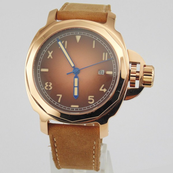 Parnis Militare Watch Yellow Gold Case Automatic Watch 100M Waterproof