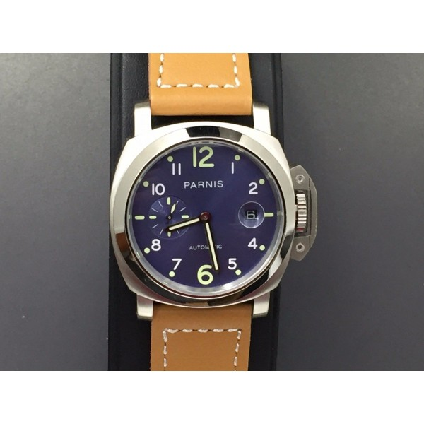 Parnis Militare Watch Blue Dial Steel Case Automatic Watch Date