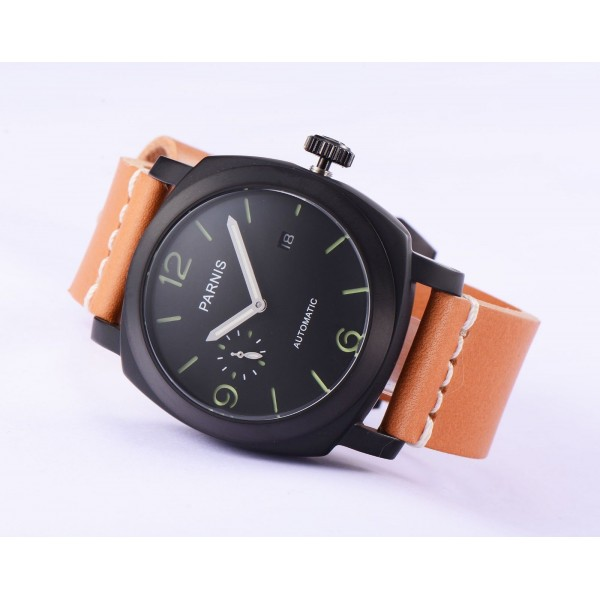 Parnis Men Watch PVD Case Black Dial Automatic Watch Date