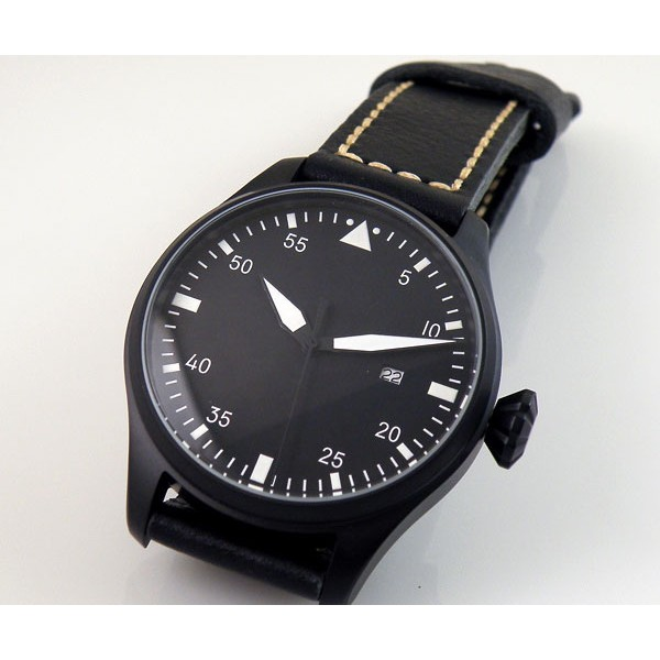 Parnis Big Polit Aviation Watch Black Dial Automatic Watch Luminous