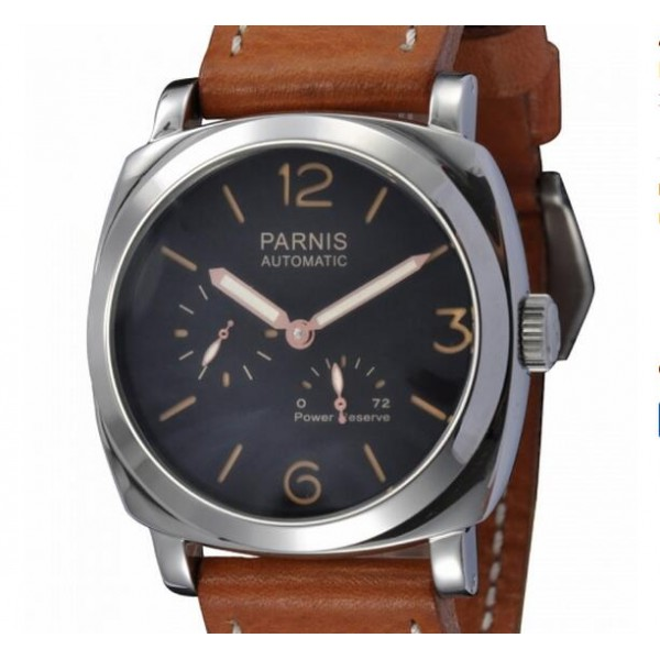 Parnis 47MM Men Watch Black Dial Power Reserve Automatic Watch
