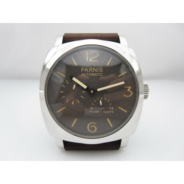 Parnis 47MM Men Watch Coffee Dial Power Reserve Automatic Watch Date
