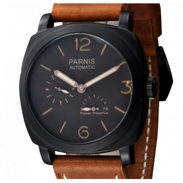 Parnis Men Watch Black Dial Automatic Watch Power Reserve