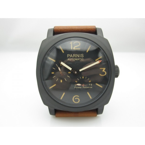 Parnis 47MM Men Watch PVD Case Automatic Watch Power Reserve