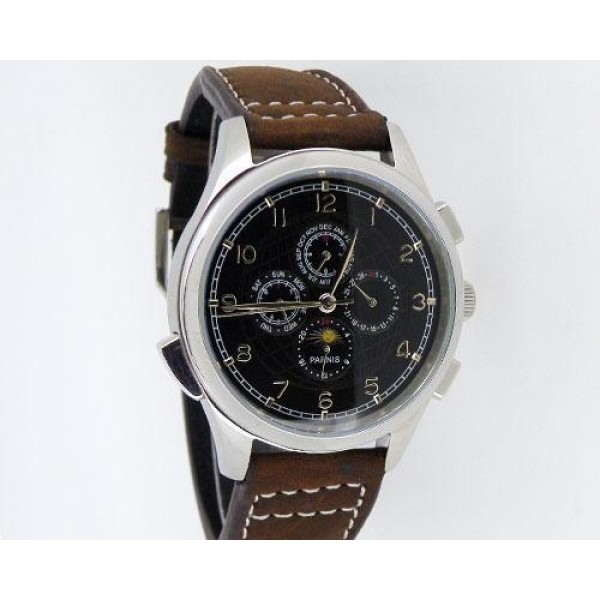 Parnis Multi-Function Men Watch Black Dial Chronometer Automatic Watch
