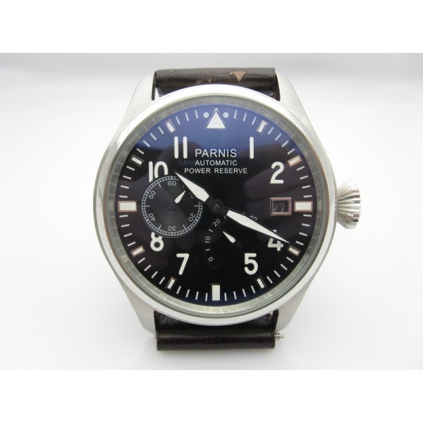 Parnis Pilot Aviation Watch Black Dial Power Reserve Chronometer Automatic Watch
