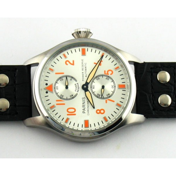 Parnis Aviation Watch Steel Case Power Reserve Chronometer Automatic Watch