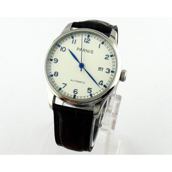 Parnis 43MM Men Watch Steel Case White Dial Automatic Watch Date