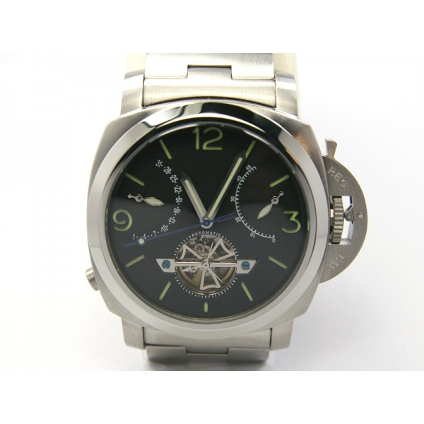 Parnis Vintage 47MM Militare Watch Steel Case Automatic Tourbillon Watch Calendar
