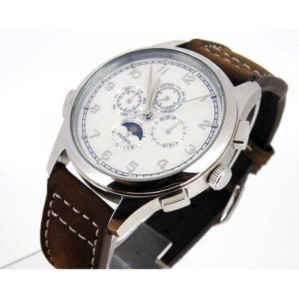 Parnis Multi-Function Men Watch White Dial Chronometer Automatic Watch