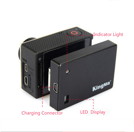 KingMa Gopro hero4/3+/3/2 Camera Clip Battery 3.8v 1300mAh Extended battery gopro 4 accessory