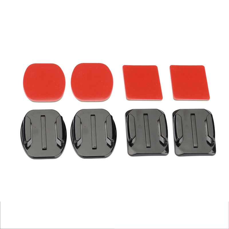 2 pieces Flat Base + 2 pcs Arc Base With 3M Red Double-sided Adhesive For GoPro Hero 4 SJ4000 Xiaom Yi