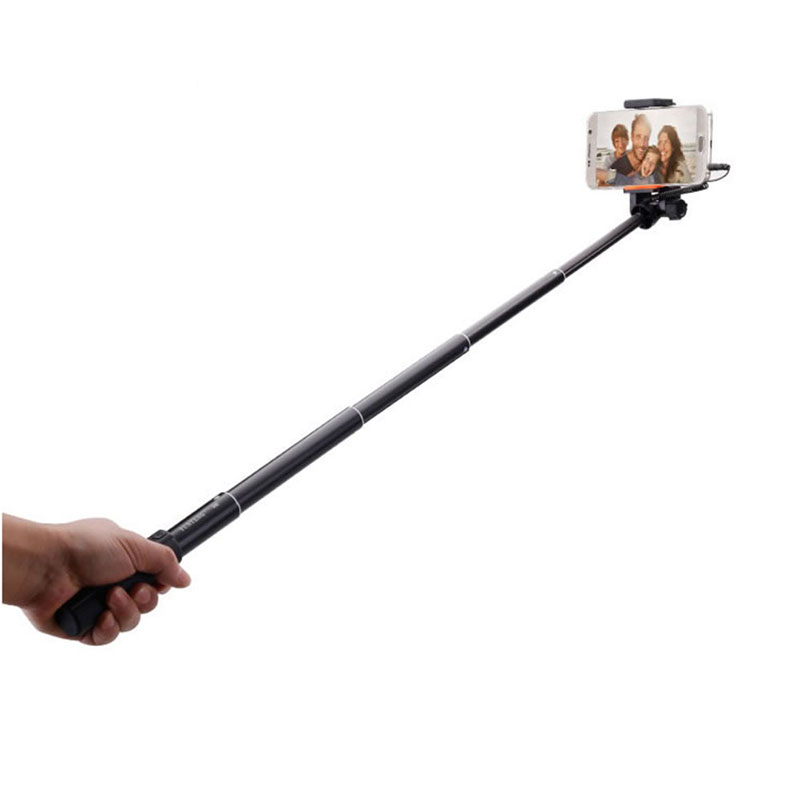 WOLFGANG Wired Mini Selfie Stick Monopod Black Extendable 808