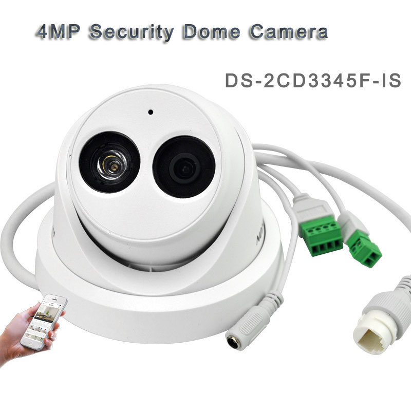 4MP Security Dome Camera POE H.265 With Audio Tape 30M IR DS-2CD3345F-IS
