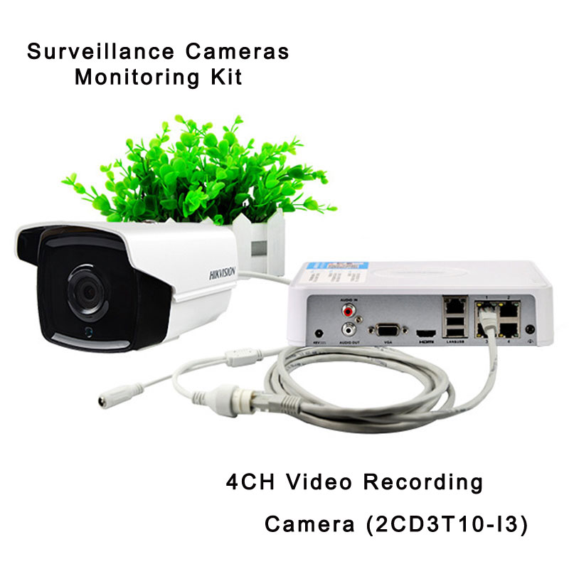 Surveillance Cameras Monitoring Kit With 4CH Video Recording 1.3MP Camera