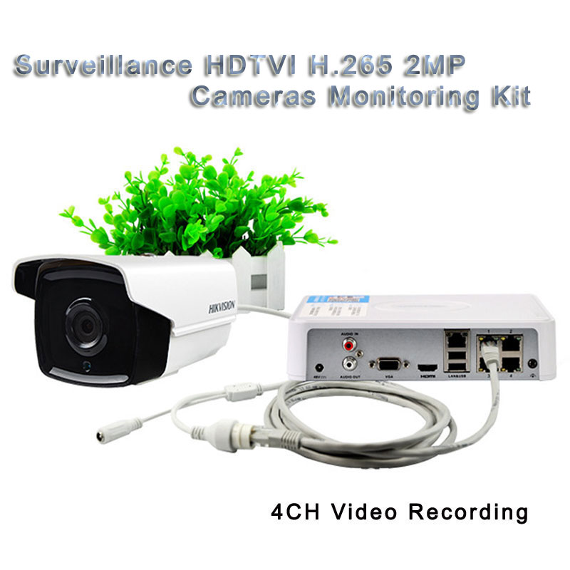 Surveillance HDTVI H.265 2MP Cameras Monitoring Kit 4CH Video Recording