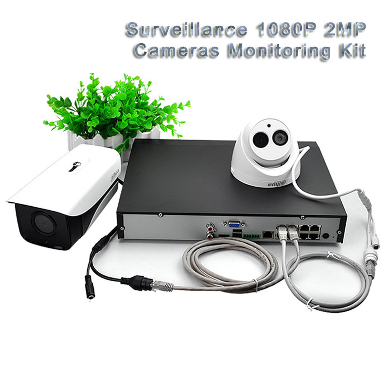 Surveillance 1080P 2MP Cameras Monitoring Kit POE 4CH Video Recording